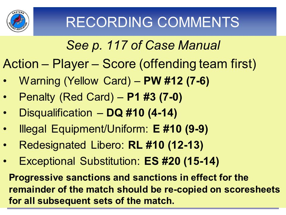 RECORDING COMMENTS See p. 117 of Case Manual