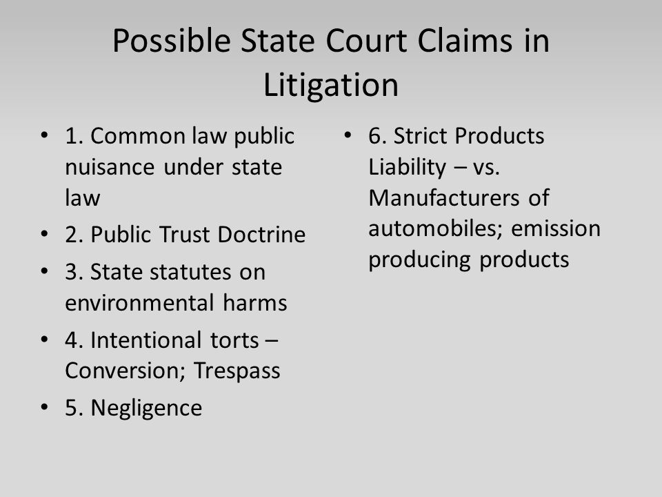 Possible State Court Claims in Litigation