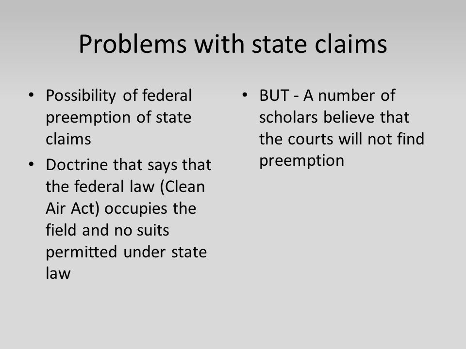 Problems with state claims