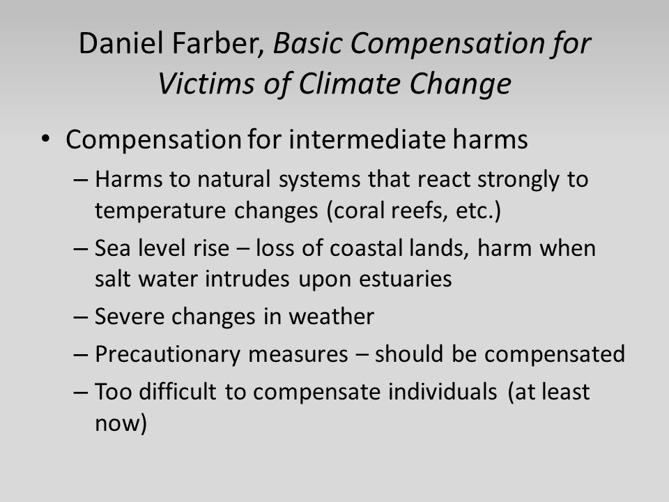 Daniel Farber, Basic Compensation for Victims of Climate Change