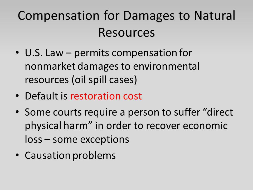 Compensation for Damages to Natural Resources