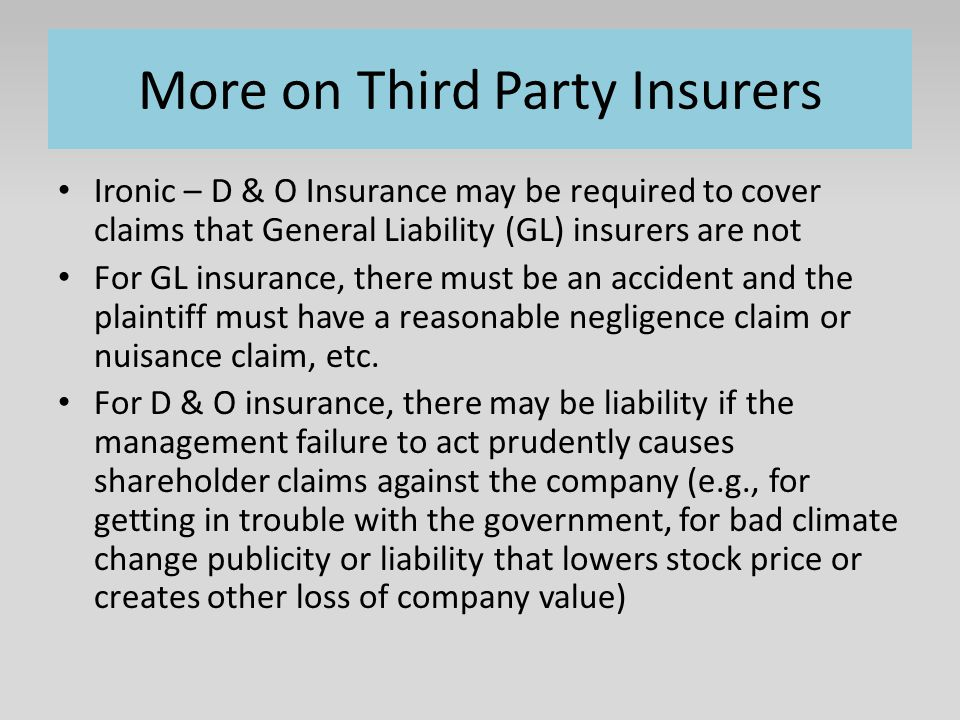 More on Third Party Insurers