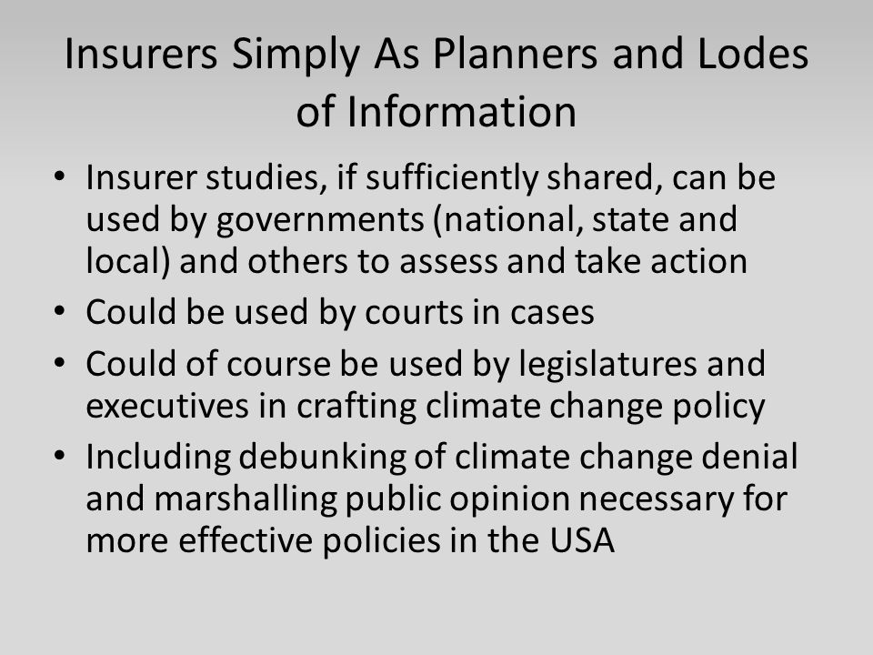 Insurers Simply As Planners and Lodes of Information