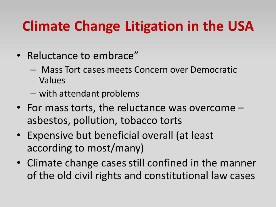 Climate Change Litigation in the USA