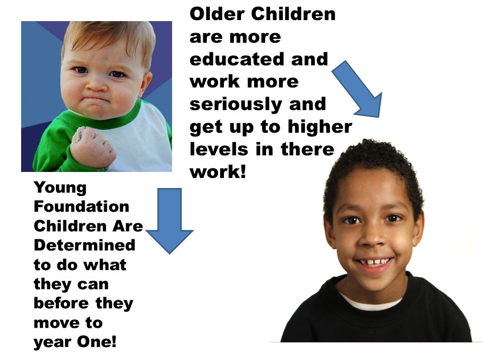 Older Children are more educated and work more seriously and get up to higher levels in there work!