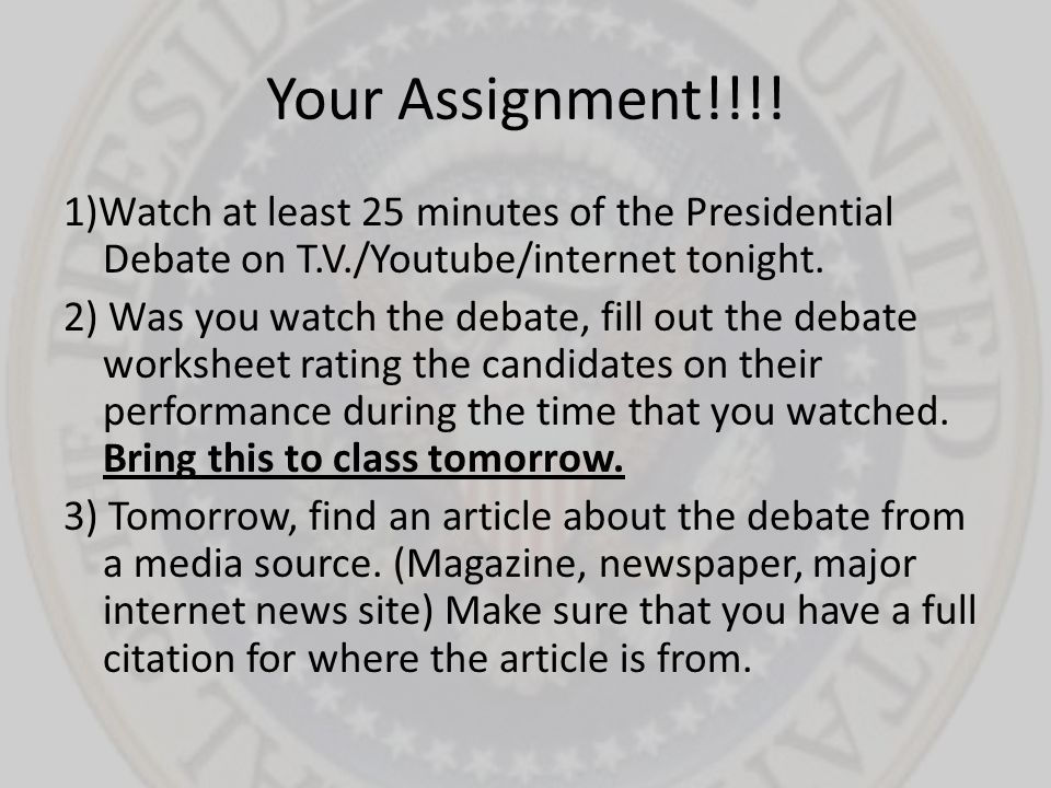 Your Assignment!!!!