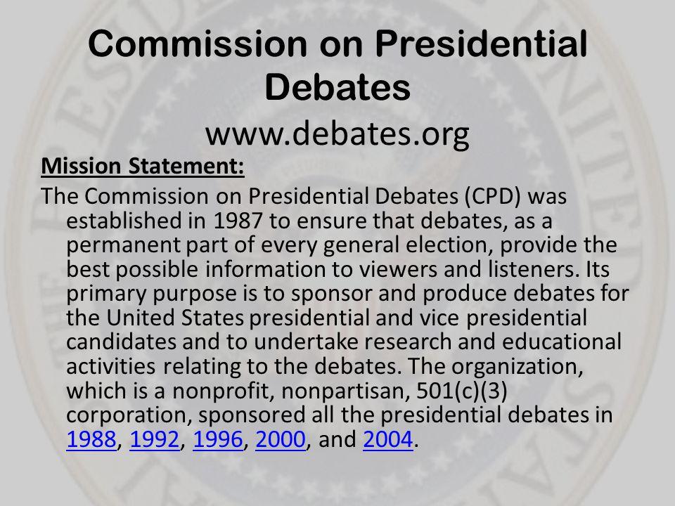 Commission on Presidential Debates www.debates.org
