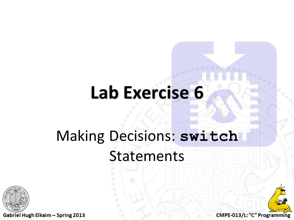 Making Decisions: switch Statements