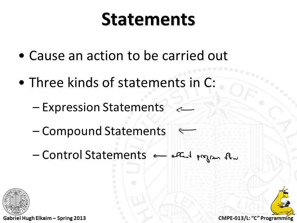Statements Cause an action to be carried out