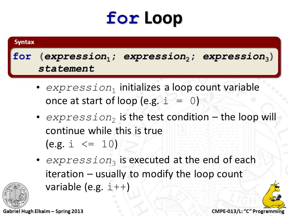for Loop Syntax. for (expression1; expression2; expression3) statement.