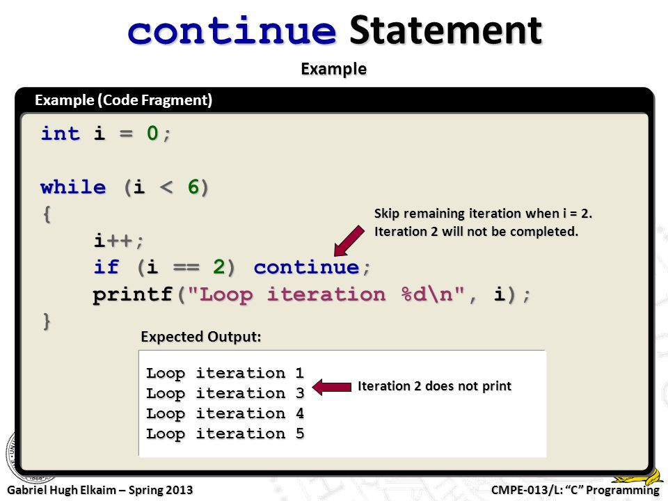 continue Statement Example