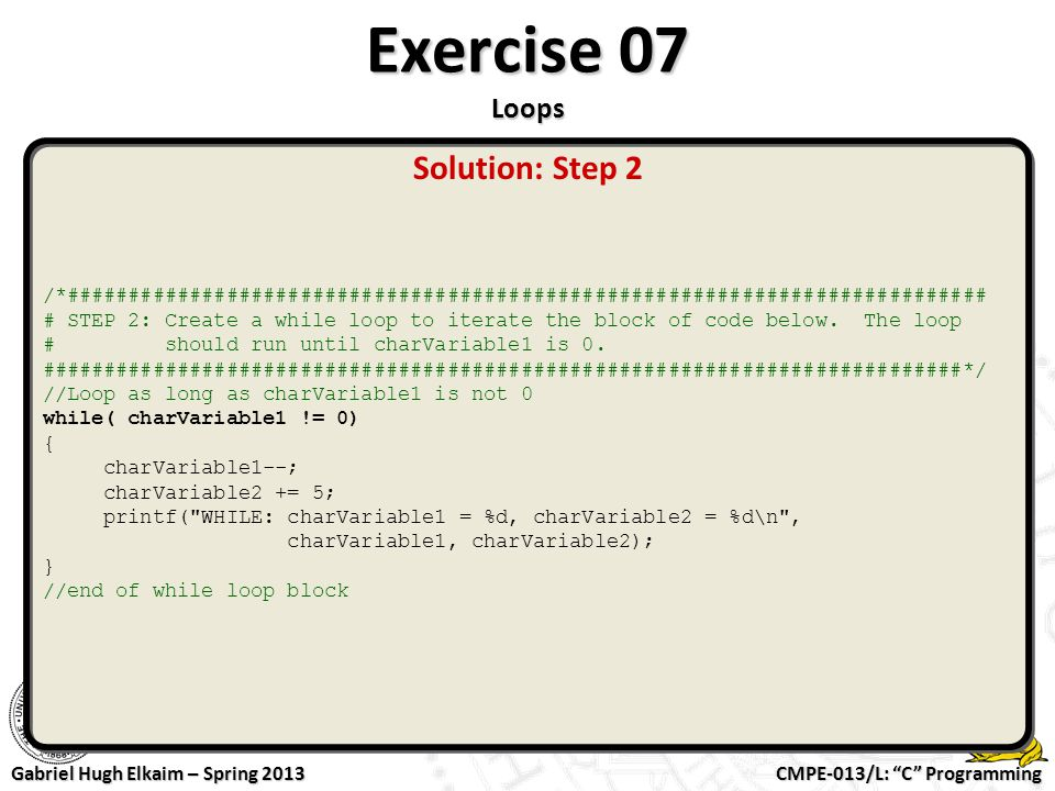 Exercise 07 Loops Solution: Step 2