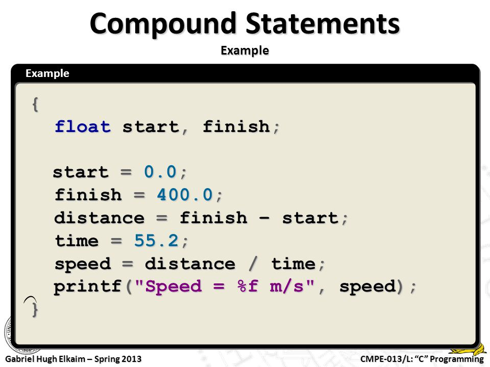 Compound Statements Example