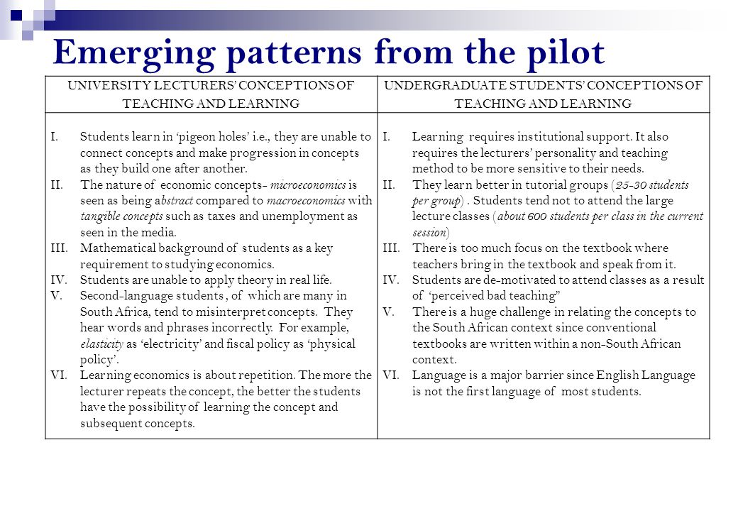 Emerging patterns from the pilot