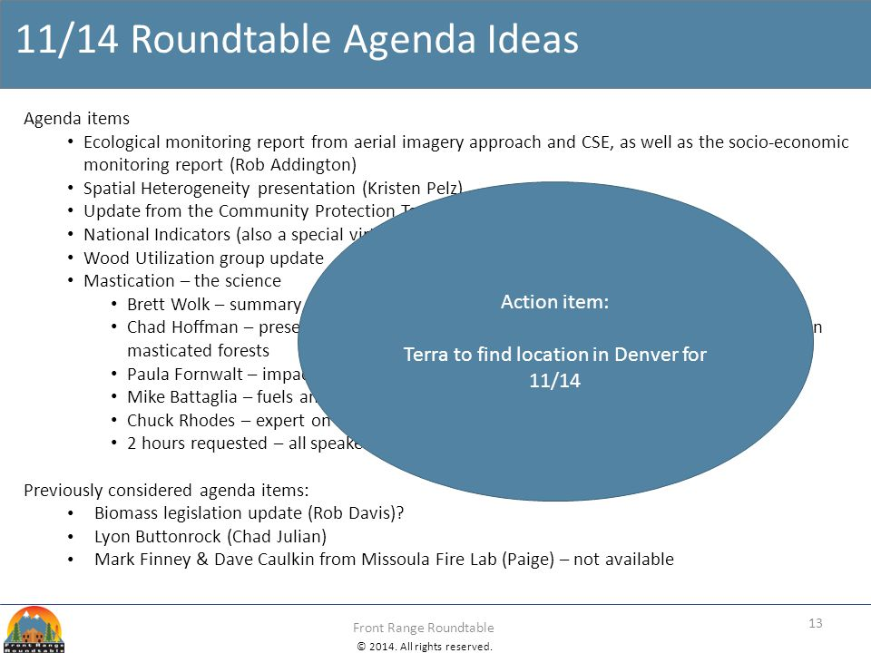 11/14 Roundtable Agenda Ideas
