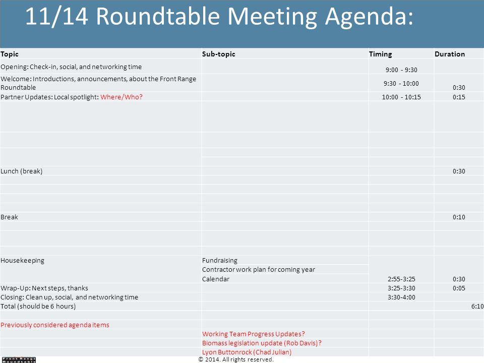 11/14 Roundtable Meeting Agenda:
