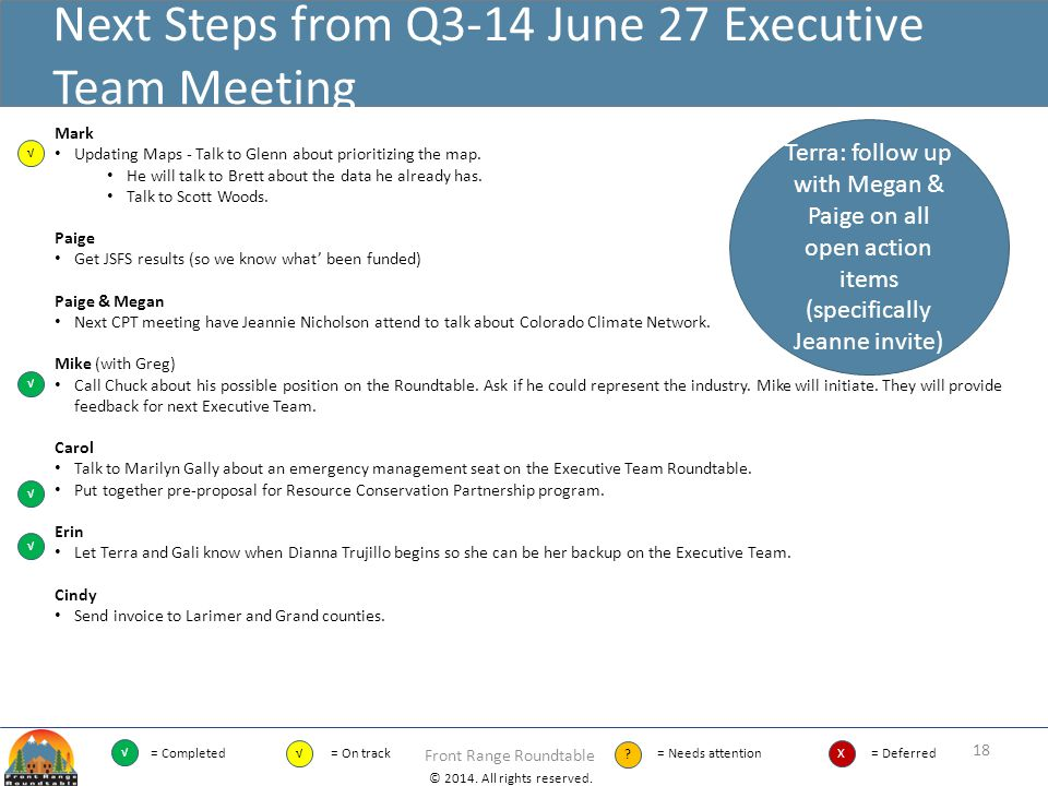 Next Steps from Q3-14 June 27 Executive Team Meeting