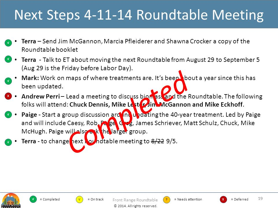 Next Steps 4-11-14 Roundtable Meeting