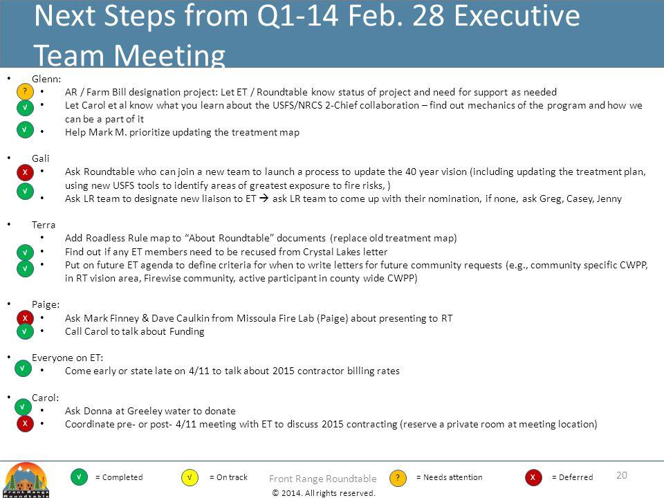 Next Steps from Q1-14 Feb. 28 Executive Team Meeting