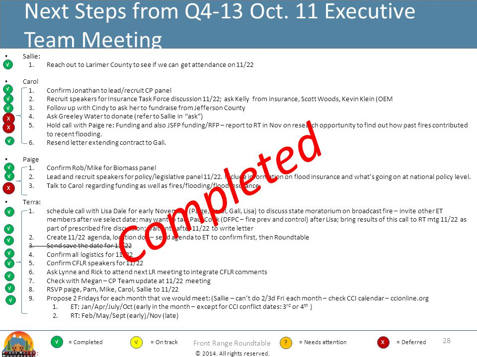 Next Steps from Q4-13 Oct. 11 Executive Team Meeting
