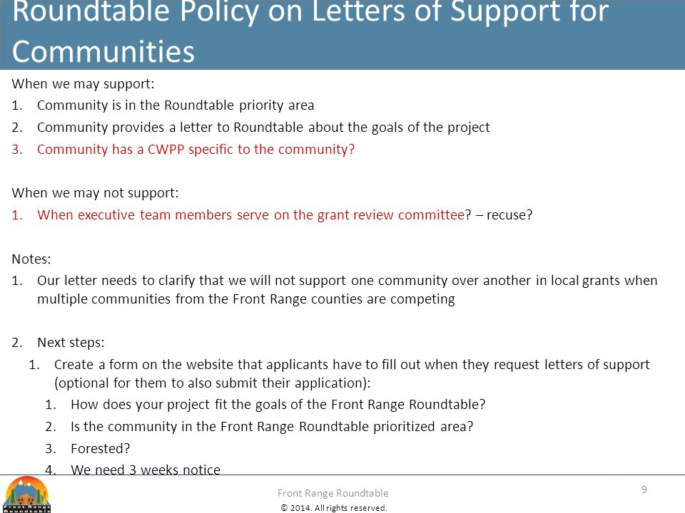 Roundtable Policy on Letters of Support for Communities