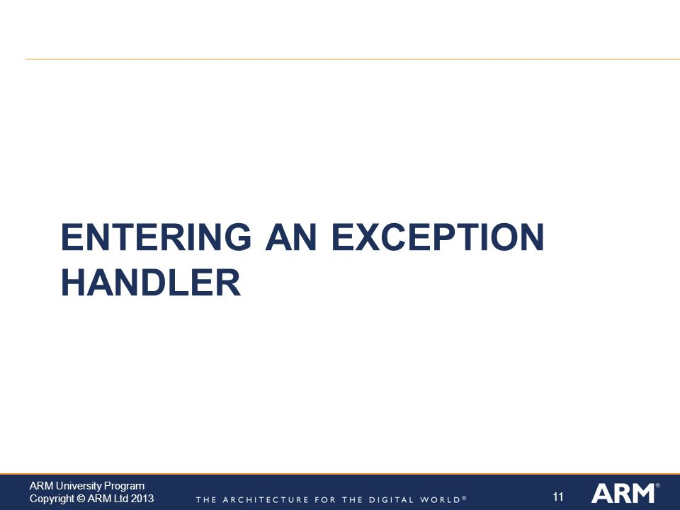 Entering an Exception Handler