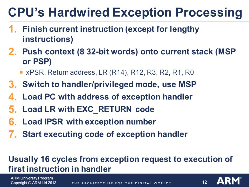 CPU's Hardwired Exception Processing
