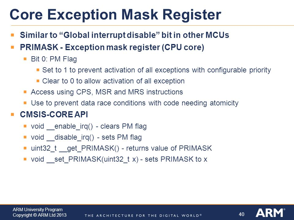 Core Exception Mask Register