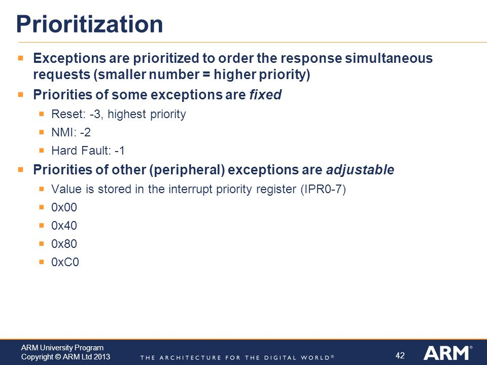 Prioritization Exceptions are prioritized to order the response simultaneous requests (smaller number = higher priority)
