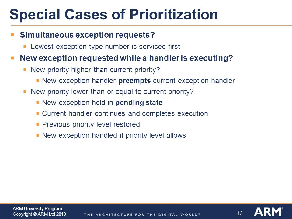 Special Cases of Prioritization