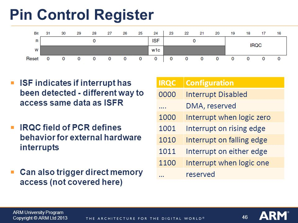 Pin Control Register ISF indicates if interrupt has been detected - different way to access same data as ISFR.