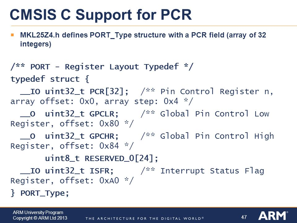 CMSIS C Support for PCR /** PORT - Register Layout Typedef */