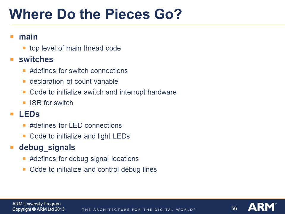 Where Do the Pieces Go main switches LEDs debug_signals