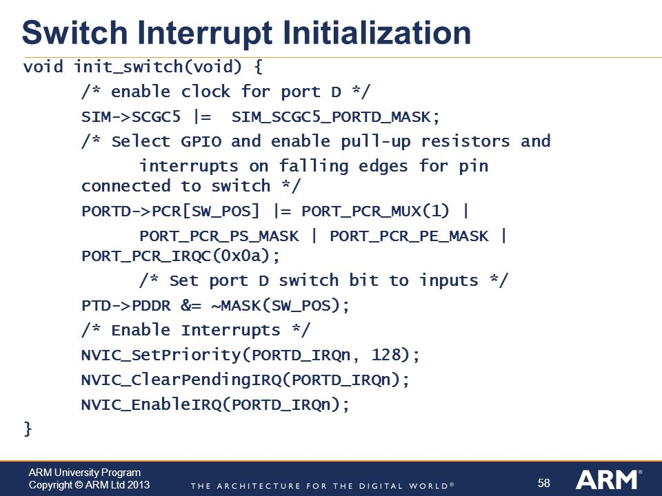 Switch Interrupt Initialization