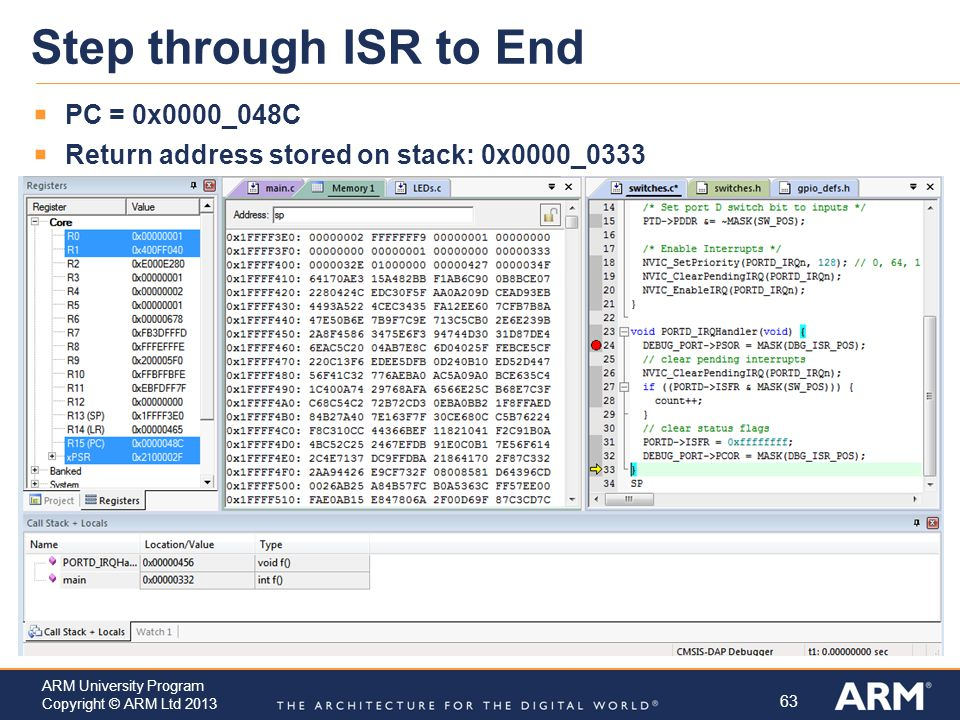 Step through ISR to End PC = 0x0000_048C