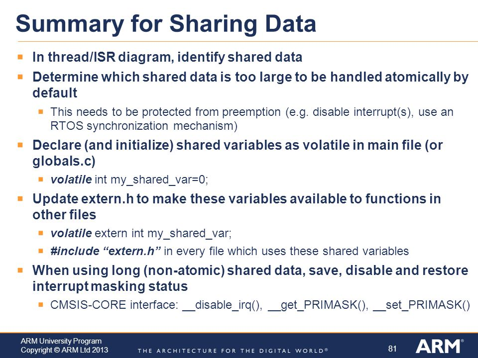 Summary for Sharing Data