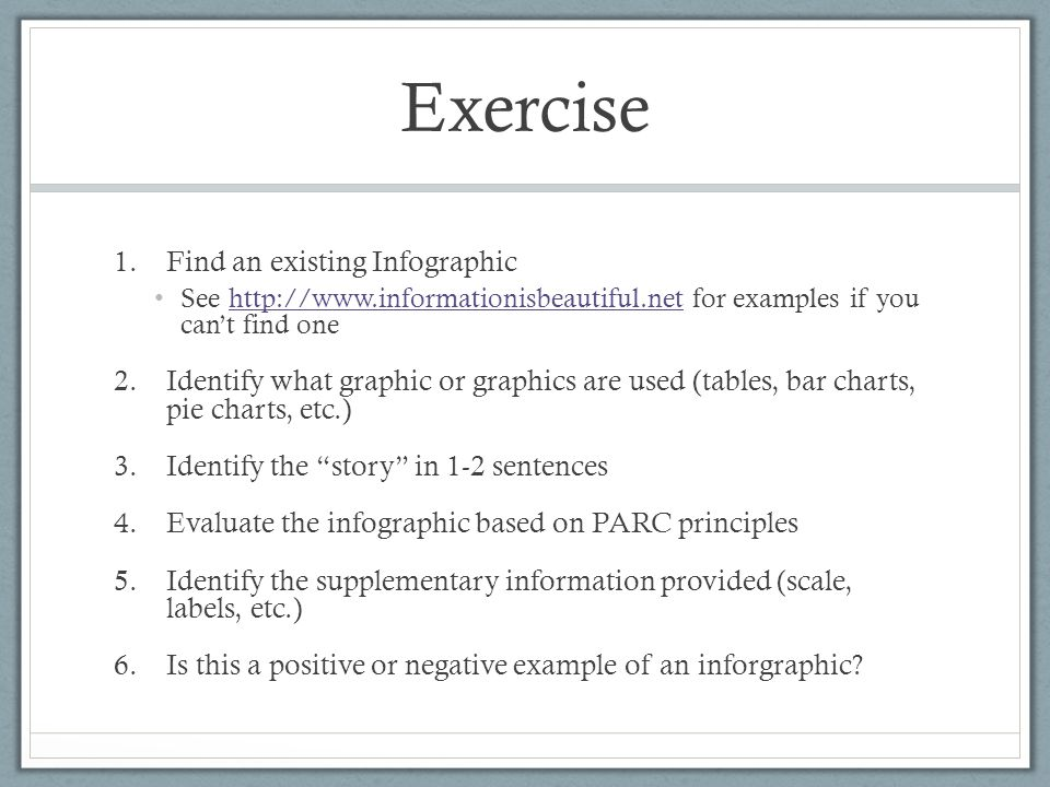 Exercise Find an existing Infographic