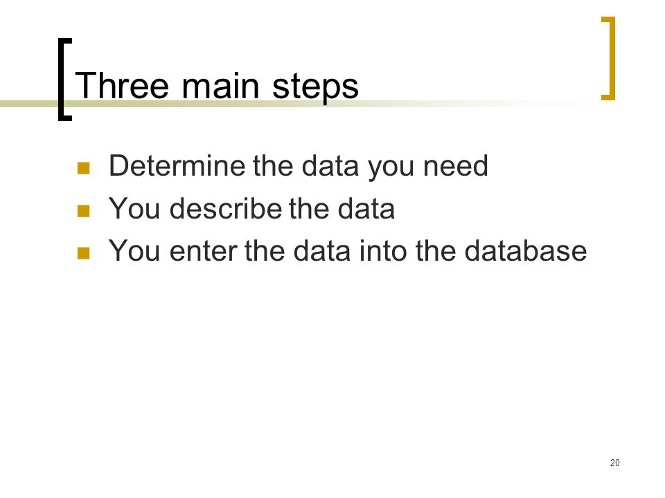 Three main steps Determine the data you need You describe the data