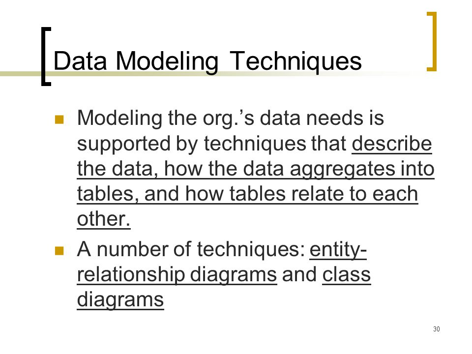 Data Modeling Techniques
