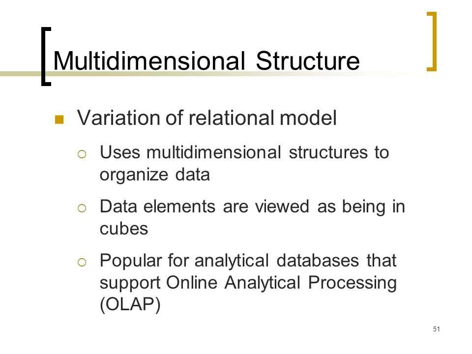 Multidimensional Structure