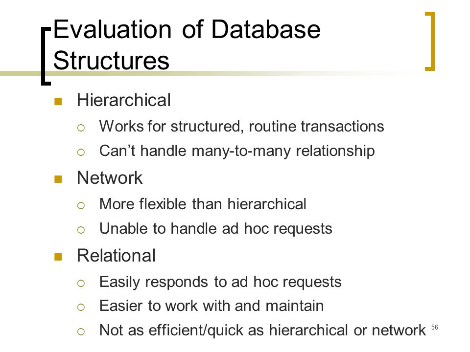 Evaluation of Database Structures
