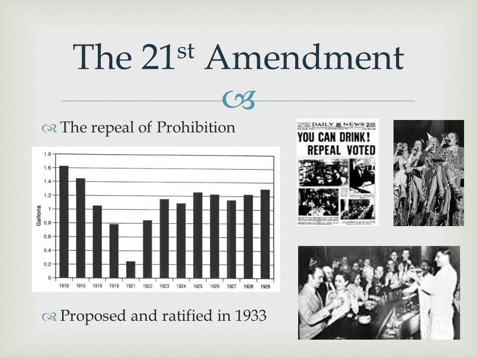 The 21st Amendment The repeal of Prohibition