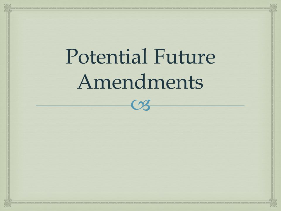 Potential Future Amendments