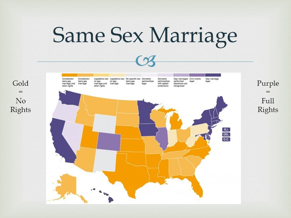 Same Sex Marriage Gold = No Rights Purple = Full Rights