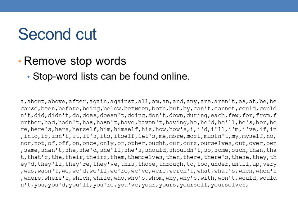 Second cut Remove stop words Stop-word lists can be found online.