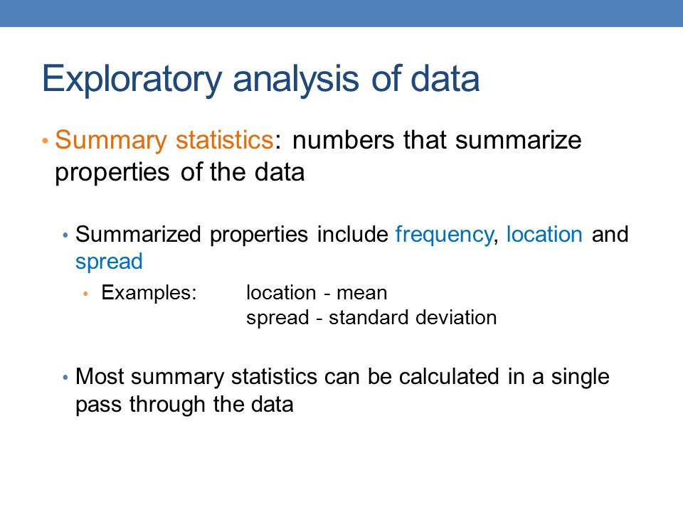 Exploratory analysis of data