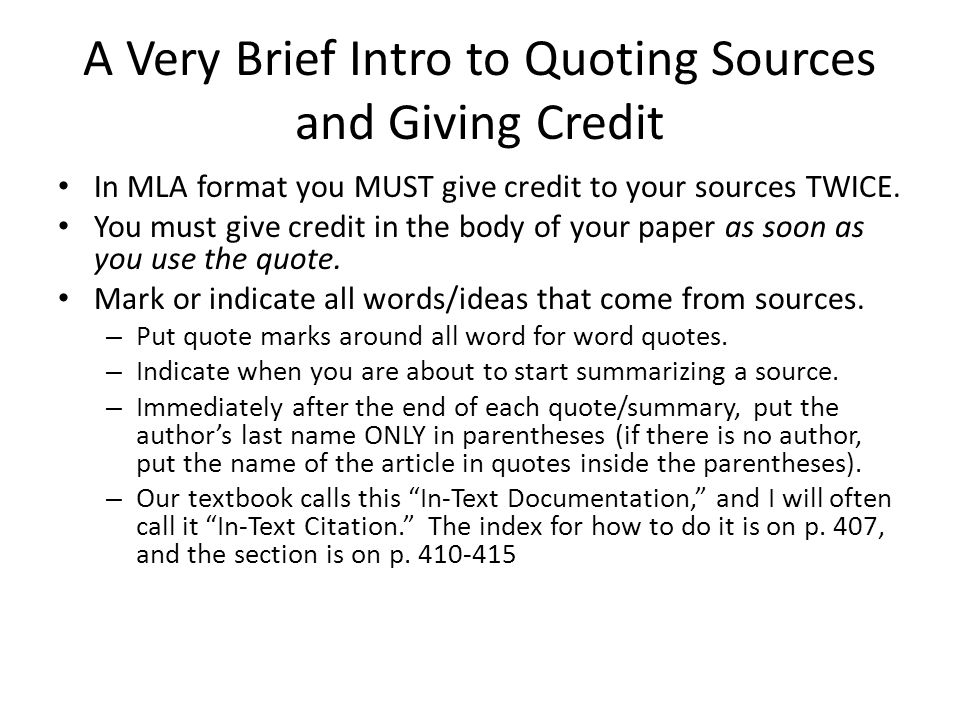 A Very Brief Intro to Quoting Sources and Giving Credit