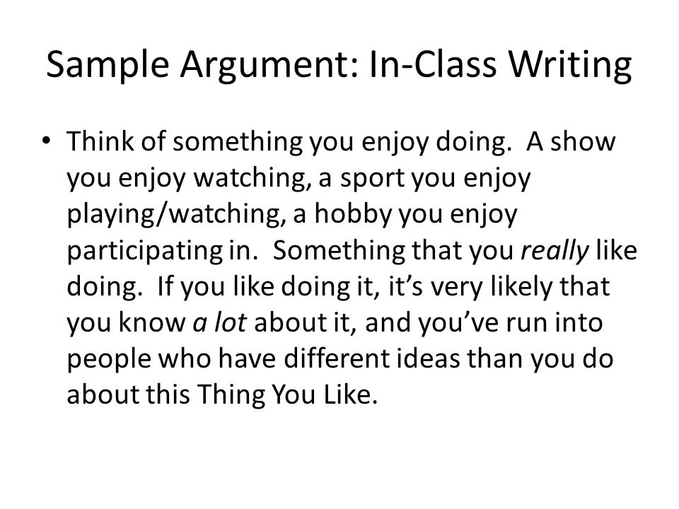 Sample Argument: In-Class Writing