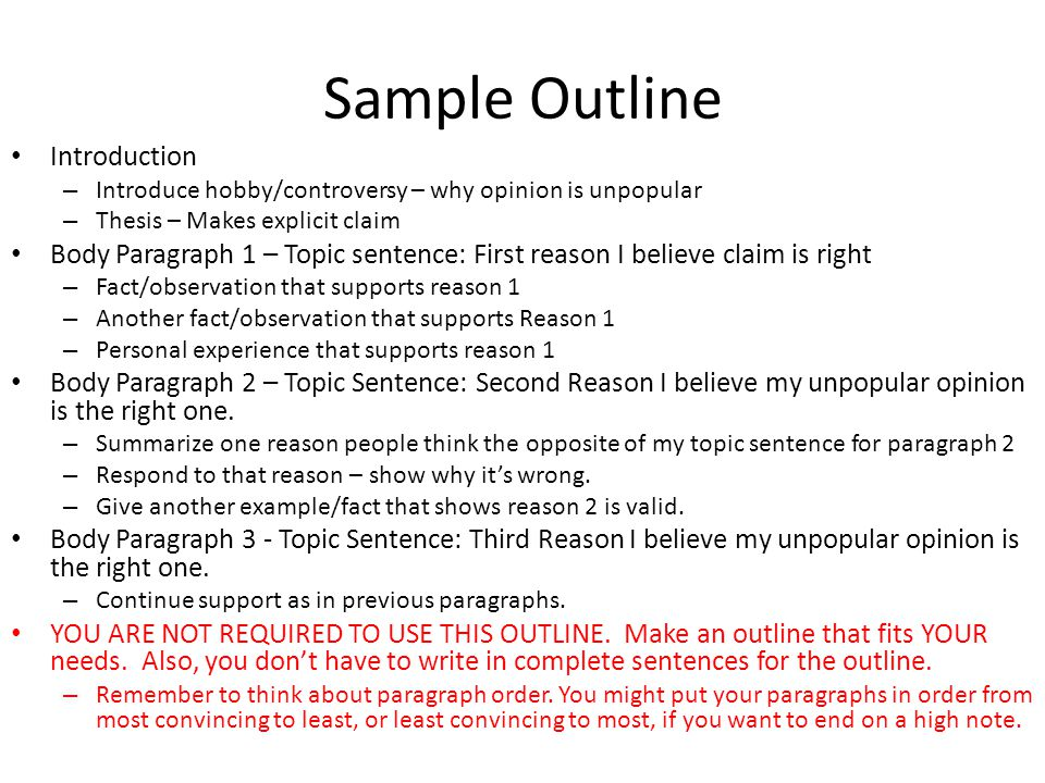 Sample Outline Introduction
