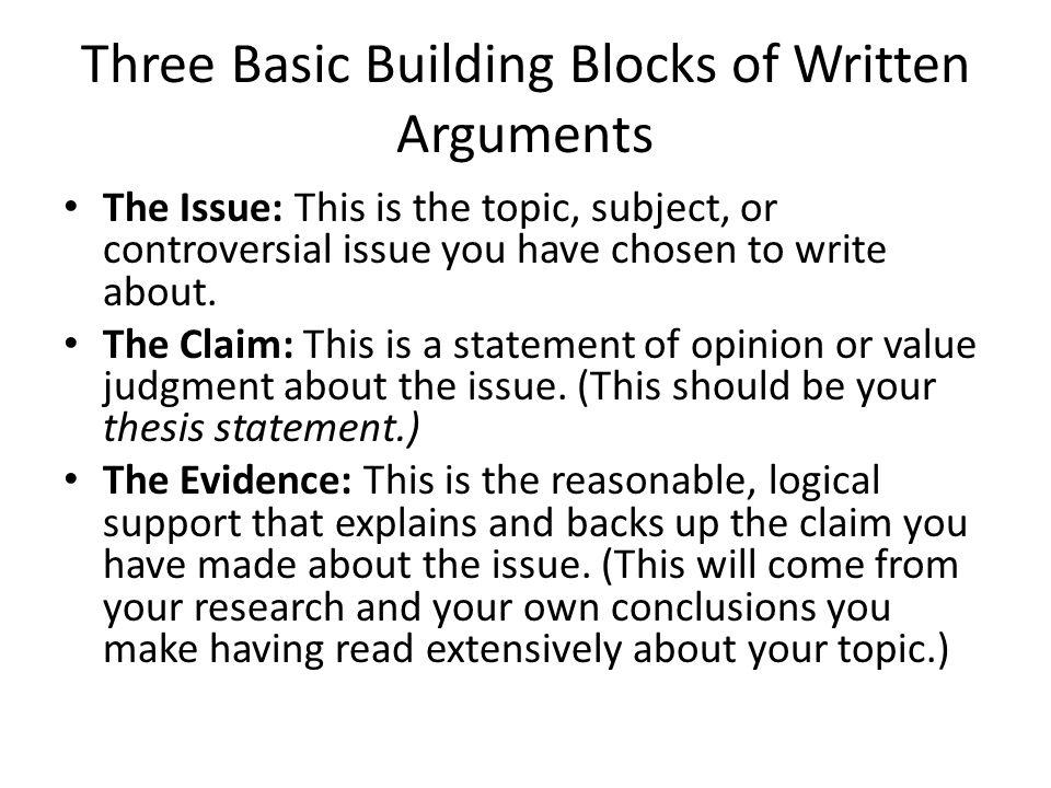 Three Basic Building Blocks of Written Arguments